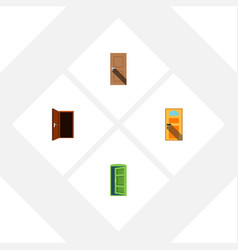 flat icon door set of approach frame exit and vector image vector image