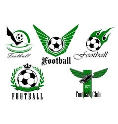 Football game icons or emblems set vector