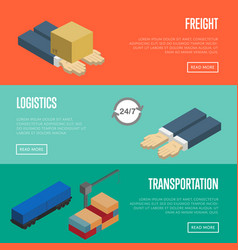 Freight logistics and transportation banners set vector
