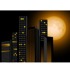 Full moon and city scape with sky scrapers offices vector