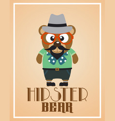 Funny hipster bear vector