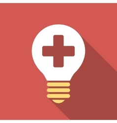 Healh care bulb flat square icon with long shadow vector