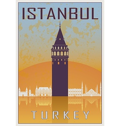 Istanbul vintage poster vector image vector image
