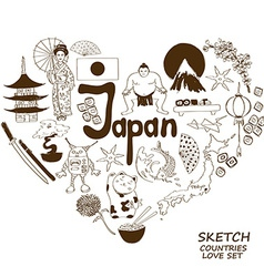 Japanese symbols in heart shape concept vector