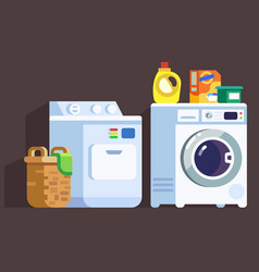 Laundry washing machines and cleaners icon set vector