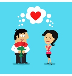Man giving girl flowers vector image vector image