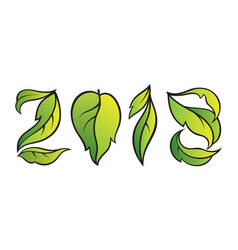Number 2018 eco style with gradient green leaves vector