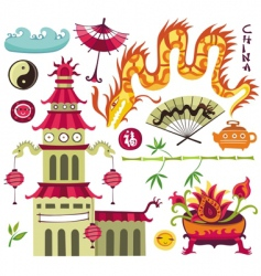 Oriental set of design elements vector