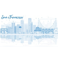 Outline San Francisco Skyline vector image