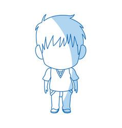 Outlined little boy anime hair style vector