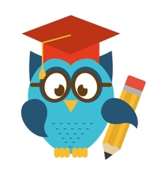owl bird cute with hat graduation icon vector image vector image