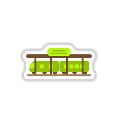 paper sticker on white background train station vector image