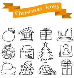 Set of christmas hand draw vector