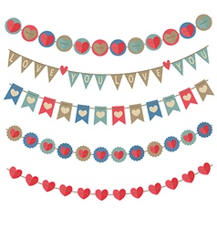 set of isolated vintage garlands on Valentines Day vector image vector image