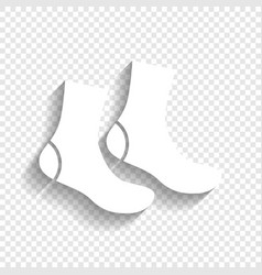 Socks sign white icon with soft shadow on vector