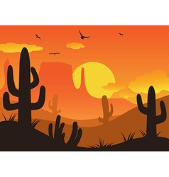 sunset cactus desert vector image vector image