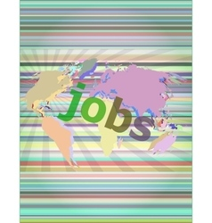 The word jobs on digital screen social concept vector image