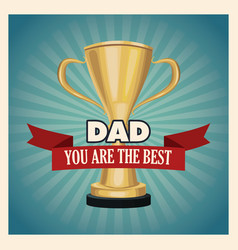 You are the best dad greeting card with golden vector