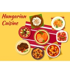 Hungarian cuisine signature dishes icon vector