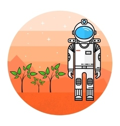 Astronaut grow plants on mars vector