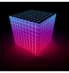 Abstract glowing pink cube vector image