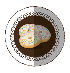 Emblem color donut with colored sparks icon vector