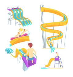 People having fun playing water slides set for vector