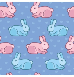 seamless pattern with rabbits and hearts vector image
