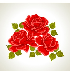 Red roses with flowers bouquet vector