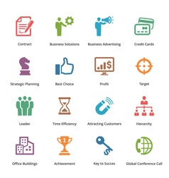 Business icons set 2 - colored series vector