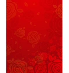 Valentine red background with many roses vector