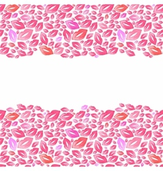 Seamless watercolor borders with lip stains on the vector