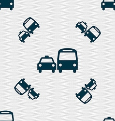 Taxi icon sign seamless pattern with geometric vector
