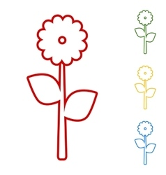 Flower set of line icons vector