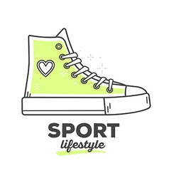 Creative sport sneakers shoe with text on vector