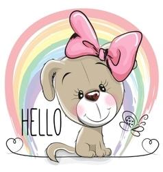 Cute dog girl vector