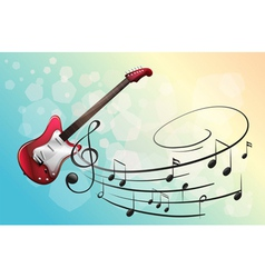 A red electric guitar with musical notes vector image