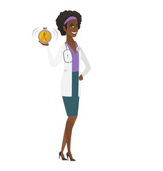 African-american doctor holding alarm clock vector