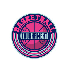 Basketball tournament vintage isolated label vector