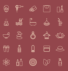 beauty line color icons on red background vector image vector image