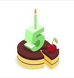 Birthday 5 years Cake and Candle isometrics Number vector image