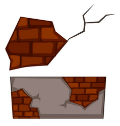 Brickwall with cracks on white background vector