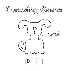 Cartoon dog guessing game vector