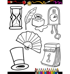 cartoon retro objects coloring page vector image vector image