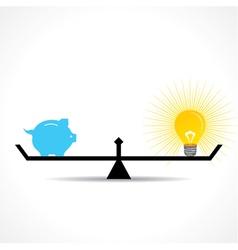 compare money and bulb idea concept vector image vector image