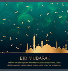 Eid festival celebration background with golden vector
