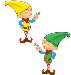 Elf mascot holding mistletoe vector