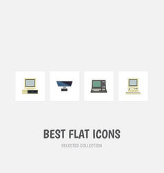 Flat icon laptop set of technology pc computer vector