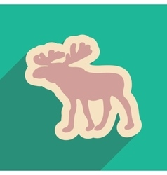 Flat web icon with long shadow Elk vector image