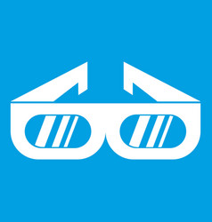Glasses for 3d movie icon white vector